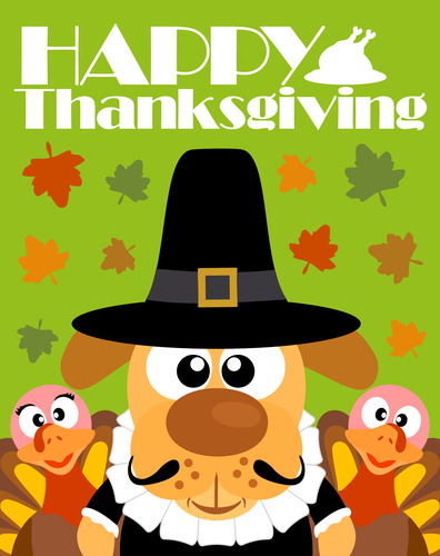 Happy Thanksgiving day background,with dog pilgrim